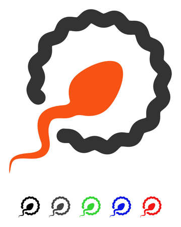 Sperm Penetration flat vector pictogram with colored versions. Color sperm penetration icon variants with black, gray, green, blue, red.