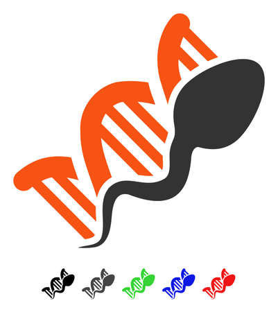 Sperm Replication flat vector pictogram with colored versions. Color sperm replication icon variants with black, gray, green, blue, red.