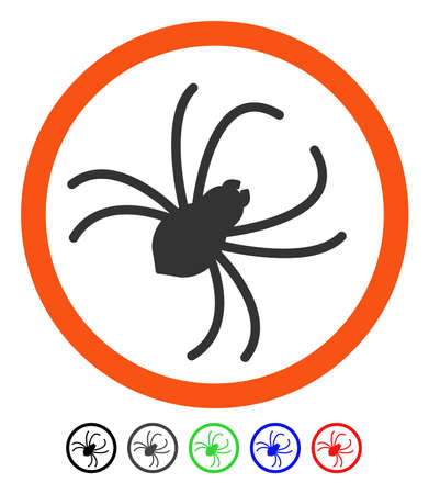 Spider flat vector pictogram with colored versions. Color spider icon variants with black, gray, green, blue, red. Illustration