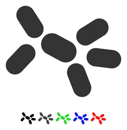 Yeast flat vector pictogram with colored versions. Color yeast icon variants with black, gray, green, blue, red.