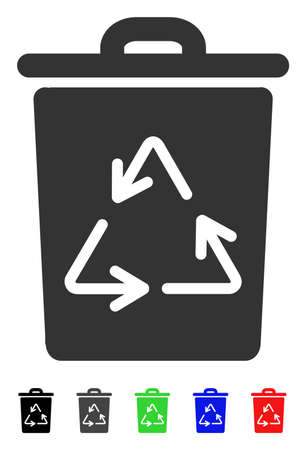 Trash Can flat vector pictogram with colored versions. Color trash can icon variants with black, gray, green, blue, red.