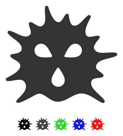 Pictograma de vector plano de estructura de virus con versiones coloreadas. Variantes del icono de la estructura del virus del color con negro, gris, verde, azul, rojo.
