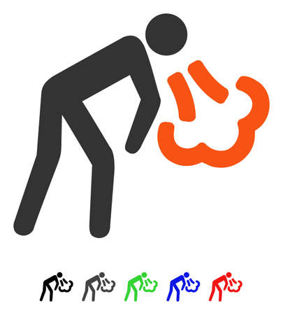 spew: Vomiting flat vector pictograph with colored versions. Color vomiting icon variants with black, gray, green, blue, red.