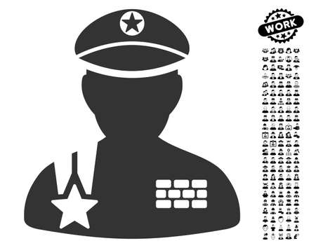 Army General icon with black bonus job icon set. Army General vector illustration style is a flat gray iconic symbol for web design, app user interfaces.