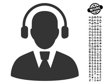 talker: Call Center Operator icon with black bonus work pictures. Call Center Operator vector illustration style is a flat gray iconic element for web design, app user interfaces. Illustration