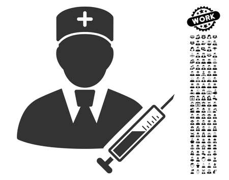 Doctor icon with black bonus professional design elements. Doctor vector illustration style is a flat gray iconic element for web design, app user interfaces. Illustration