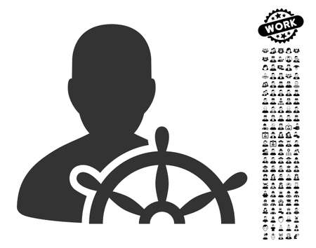 Ship Captain icon with black bonus people clip art. Ship Captain vector illustration style is a flat gray iconic symbol for web design, app user interfaces.