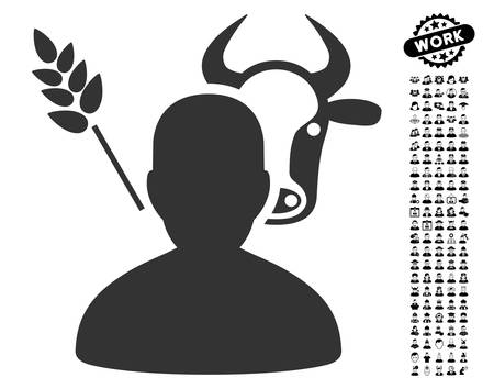 agronomist: Farmer icon with black bonus work clip art. Farmer vector illustration style is a flat gray iconic element for web design, app user interfaces.