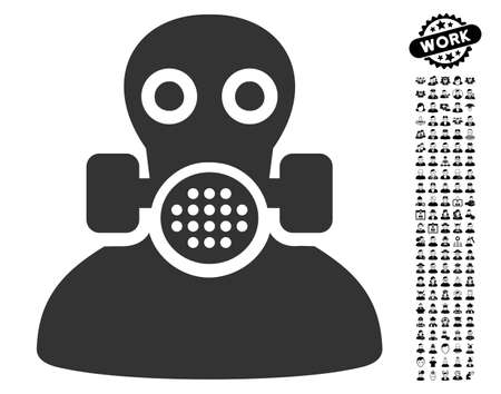 dangerous man: Toxic Work icon with black bonus people images. Toxic Work vector illustration style is a flat gray iconic element for web design, app user interfaces.