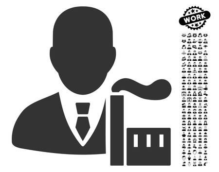 Capitalist Oligarch icon with black bonus job images. Illustration
