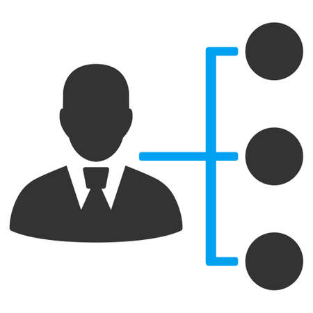 Distribution Manager vector pictogram. Style is flat graphic bicolor symbol, blue and gray colors, white background.