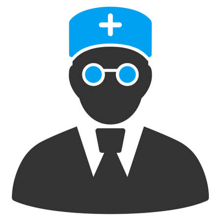 Doctor vector icon. Style is flat graphic bicolor symbol, blue and gray colors, white background.