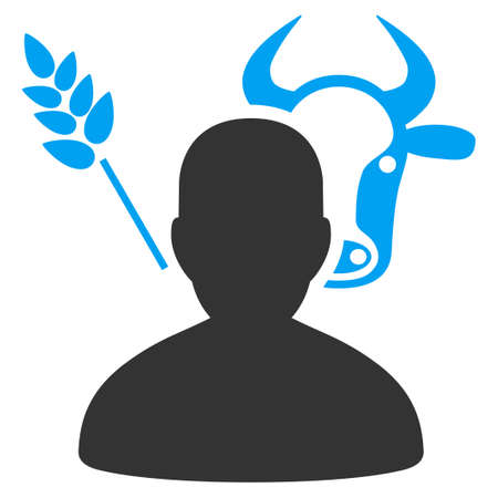 Farmer vector pictograph. Style is flat graphic bicolor symbol, blue and gray colors, white background.