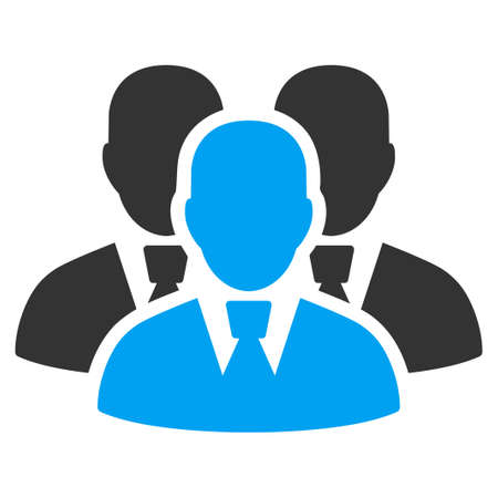 Manager Group vector pictogram. Style is flat graphic bicolor symbol, blue and gray colors, white background.
