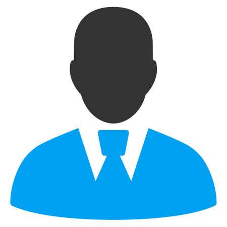 マネージャーのベクター アイコン。スタイルは、バイカラーのフラット シンボル、青と灰色の色、白い背景です。