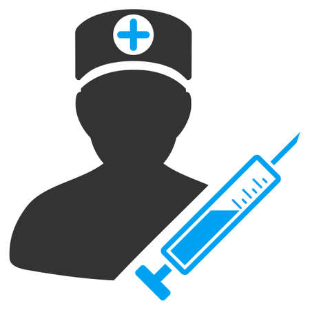 Medic vector pictograph. Style is flat graphic bicolor symbol, blue and gray colors, white background. Illustration
