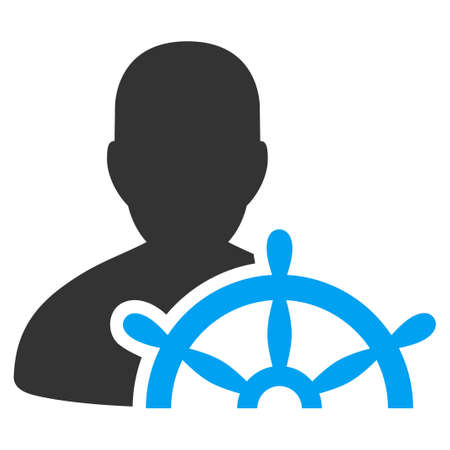 Ship Captain vector pictograph. Style is flat graphic bicolor symbol, blue and gray colors, white background.
