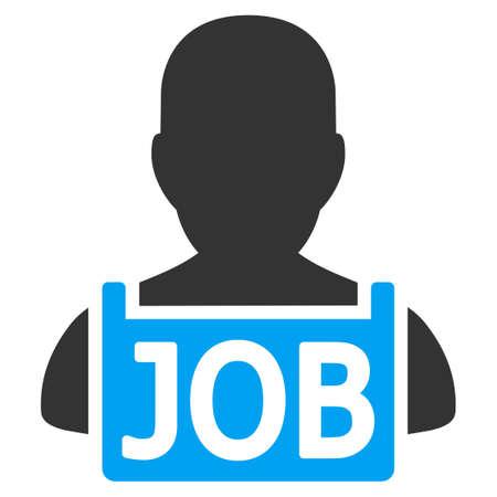 失業者はベクトル アイコンです。スタイルは、バイカラーのフラット シンボル、青と灰色の色、白い背景です。