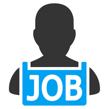 Unemployed vector icon. Style is flat graphic bicolor symbol, blue and gray colors, white background. Illustration