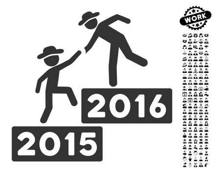 2016 Business Training icon with black bonus job symbols. 2016 Business Training vector illustration style is a flat gray iconic element for web design, app user interfaces.