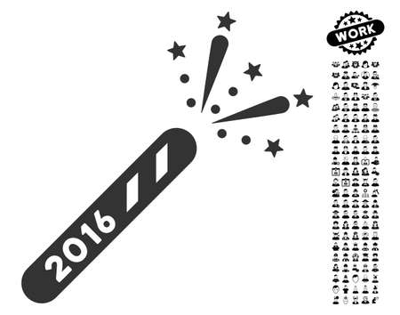 2016 Firecracker icon with black bonus professional icon set. 2016 Firecracker vector illustration style is a flat gray iconic element for web design, app user interfaces. Illustration