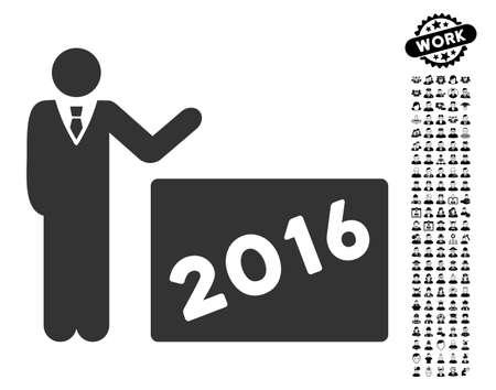 2016 Afficher l'icône avec des symboles d'hommes bonus noir. 2016 Afficher le style d'illustration vectorielle est un symbole emblématique plat gris pour la conception web, les interfaces utilisateur de l'application. Banque d'images - 82756071