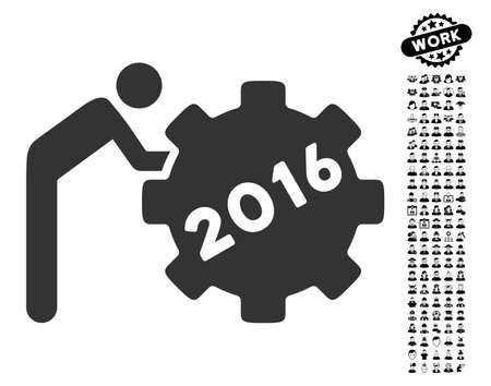 machinery: 2016 Working Man icon with black bonus work pictograph collection. 2016 Working Man vector illustration style is a flat gray iconic element for web design, app user interfaces.