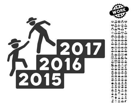 lift up: Gentleman Annual Help icon with black bonus work pictograph collection. Gentleman Annual Help vector illustration style is a flat gray iconic element for web design, app user interfaces. Illustration