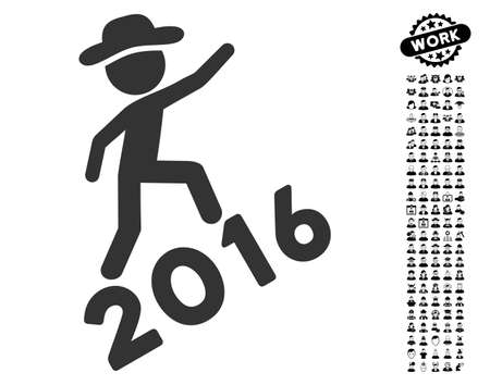 Gentleman Climbing 2016 icon with black bonus work design elements. Gentleman Climbing 2016 vector illustration style is a flat gray iconic element for web design, app user interfaces.