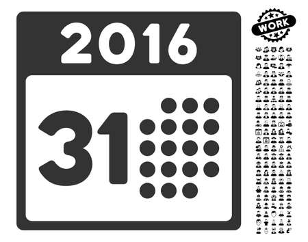 Last 2016 Month Day icon with black bonus job images. Last 2016 Month Day vector illustration style is a flat gray iconic symbol for web design, app user interfaces. Illustration
