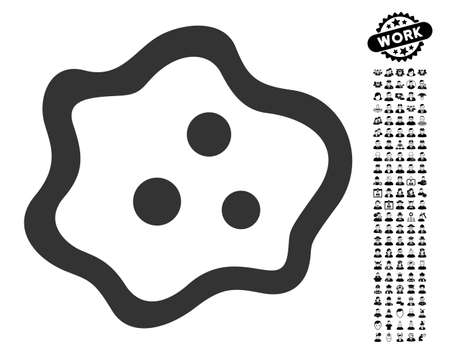 Amoeba icon with black bonus job pictures. Amoeba vector illustration style is a flat gray iconic element for web design, app user interfaces. Illustration