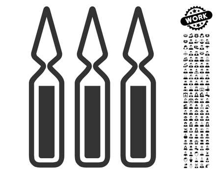 Ampoules icon with black bonus profession pictograph collection. Ampoules vector illustration style is a flat gray iconic element for web design, app user interfaces. Illustration