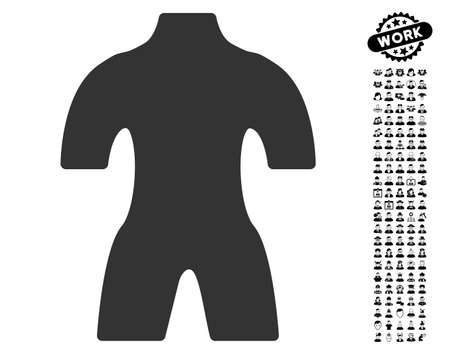 Body icon with black bonus profession pictograph collection. Body vector illustration style is a flat gray iconic element for web design, app user interfaces.