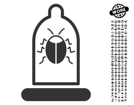 danger: Bug Protection Condom icon with black bonus profession design elements. Bug Protection Condom vector illustration style is a flat gray iconic element for web design, app user interfaces.