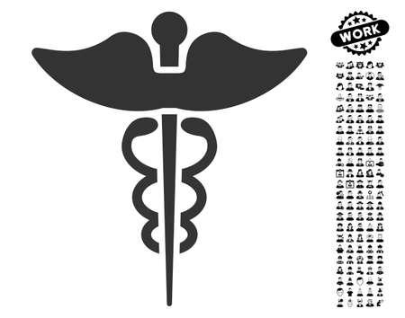 Caduceus icon with black bonus professional clip art. Caduceus vector illustration style is a flat gray iconic symbol for web design, app user interfaces.