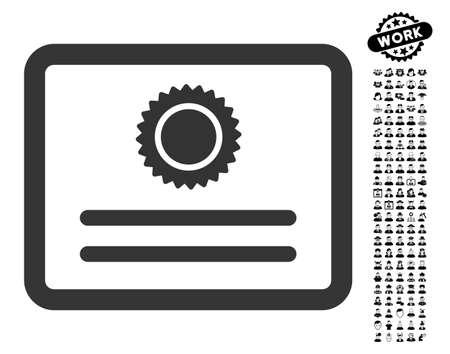 Icône de diplôme avec des images professionnelles de bonus noir. Le style d'illustration de vecteur de diplôme est un élément iconique plat gris pour la conception web, les interfaces utilisateur de l'application.