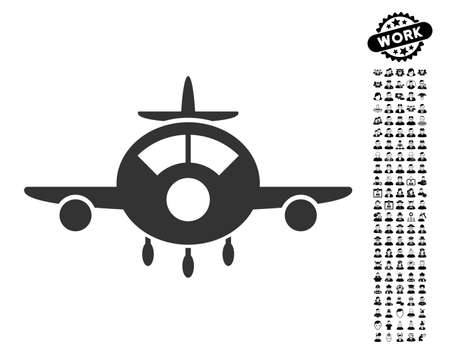 Aircraft icon with black bonus professional pictograms. Aircraft vector illustration style is a flat gray iconic symbol for web design, app user interfaces.