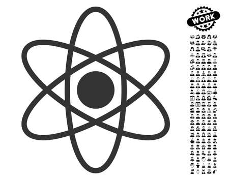 vector nuclear: Atom icon with black bonus job clip art. Atom vector illustration style is a flat gray iconic symbol for web design, app user interfaces.