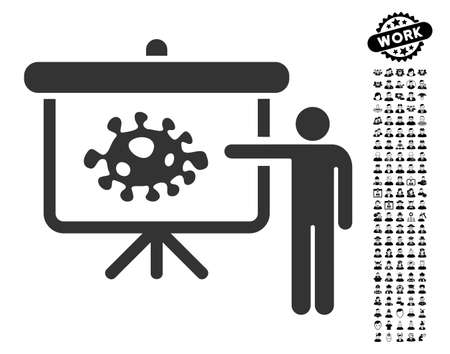 Bacteria lecture icon with black bonus professional pictograph collection..