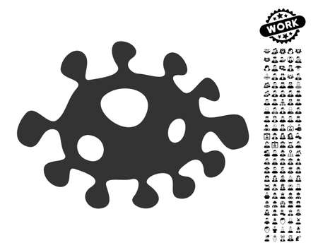 Bacteria icon with black bonus men icon set. Bacteria vector illustration style is a flat gray iconic element for web design, app user interfaces.