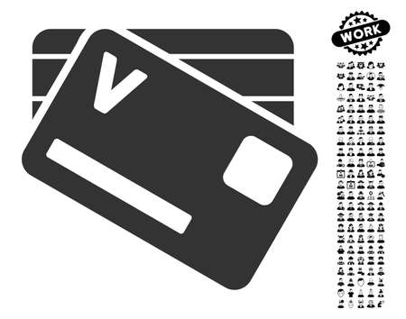 allowed to pass: Banking Cards icon with black bonus men symbols. Banking Cards vector illustration style is a flat gray iconic symbol for web design, app user interfaces. Illustration