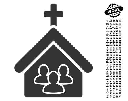 Church People icon with black bonus job design elements. Church People vector illustration style is a flat gray iconic symbol for web design, app user interfaces.