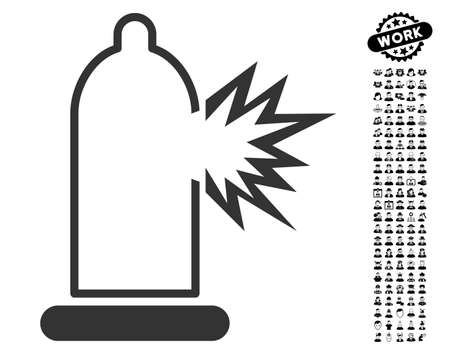 danger: Condom Damage icon with black bonus work pictures. Condom Damage vector illustration style is a flat gray iconic symbol for web design, app user interfaces.