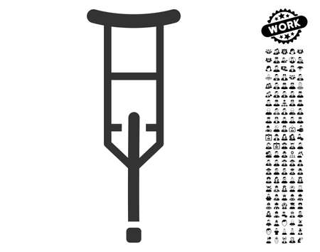 Crutch icon with black bonus work pictograph collection. Crutch vector illustration style is a flat gray iconic symbol for web design, app user interfaces.