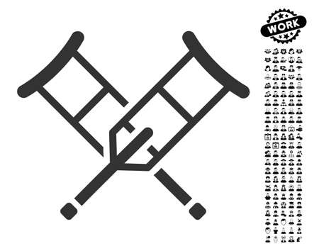Crutches icon with black bonus job pictograms. Crutches vector illustration style is a flat gray iconic symbol for web design, app user interfaces.