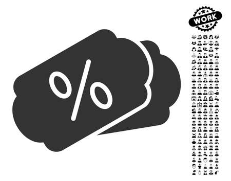 Discount Coupons icon with black bonus job pictograms. Discount Coupons vector illustration style is a flat gray iconic element for web design, app user interfaces.