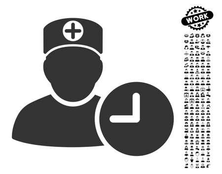 의사 일정 검은 보너스 작업 사진 시계 아이콘. 의사 일정 시계 벡터 일러스트 레이 션 스타일 웹 디자인, 응용 프로그램 사용자 인터페이스에 대 한 평