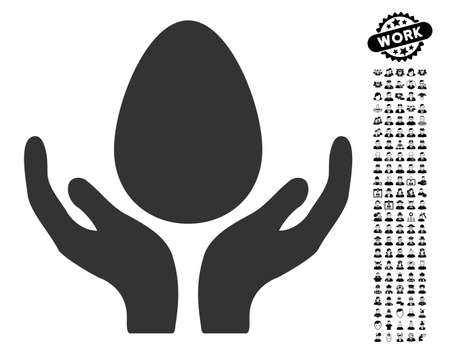 Egg Incubator Hands icon with black bonus men pictograms. Egg Incubator Hands vector illustration style is a flat gray iconic element for web design, app user interfaces.