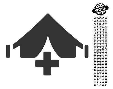 Field Hospital icon with black bonus professional clip art. Field Hospital vector illustration style is a flat gray iconic element for web design, app user interfaces. Çizim