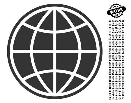 Globe icon with black bonus professional pictograph collection. Globe vector illustration style is a flat gray iconic symbol for web design, app user interfaces. Illustration